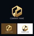cube 3d gold logo vector image vector image