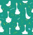 cute goose seamless pattern cartoon hand drawn vector image vector image