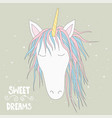 cute magical unicorn head hand drawn elements vector image