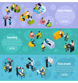 Depression And Stress Isometric Horizontal Banners vector image vector image