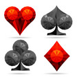 diamond style card suits set vector image