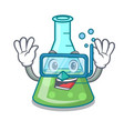 diving science beaker character cartoon vector image