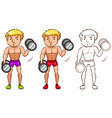 doodle character for man doing weightlifting vector image vector image