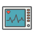 ecg machine filled outline icon medicine vector image vector image