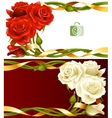 frame set red and white roses vector image vector image