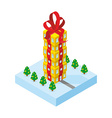 Gift of skyscraper Tall office building from gift vector image