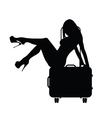girl sensual with travel bag silhouette vector image vector image