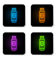 glowing neon usb flash drive and protection vector image vector image