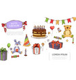 hand drawn birthday elements concept vector image vector image