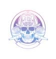 hand drawn sketch fireman skull vector image