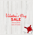 happy valentines day sale card with gift box vector image vector image