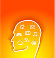 human head with multimedia elements vector image vector image