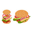 isometric burger vector image