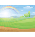 kids cartoon landscape with rainbow vector image vector image