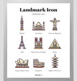 landmark icons linecolor pack vector image