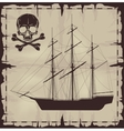 Large ship and skull over old paper vector image vector image