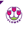 logo of three flowers in the line style in circle vector image vector image