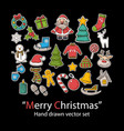 merry christmas setfashion patch badges vector image vector image