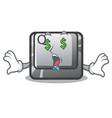 money eye q button installed on cartoon computer vector image