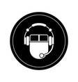 mouse with headphones vector image vector image