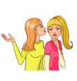 One cartoon girl tell a secret to another one vector image vector image