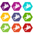 pipe water icons set 9 vector image vector image
