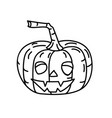 scary pumpkin icon doodle hand drawn or black vector image vector image