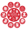 Set of 11 round christmas greeting with santa face vector image vector image