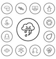 set of 12 editable weather outline icons includes vector image vector image