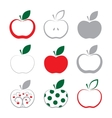 set of apple icon isolated on white background vector image vector image
