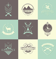 Set of camping and hunting logos vector image vector image