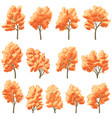 set of deciduous trees in autumn vector image vector image