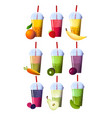 set of smoothies in different cups superfoods and vector image vector image