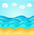 summer beach sand sea clouds holiday tourism vector image