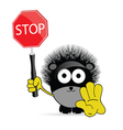 sweet and cute hedgehog with sign stop vector image vector image