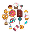 sweets candy cakes icons set cartoon style vector image vector image