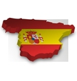 Three dimensional map of Spain in flag colors vector image vector image