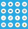 trade icons colored line set with structure bag vector image vector image