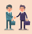 two business man shake hands with happy face vector image