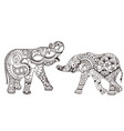 two elephants with oriental patterns vector image vector image
