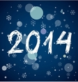 White new year 2014 on blue background vector image vector image