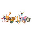 wild animals safari wildlife africa happy animal vector image vector image