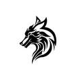 wolf bolt emblem mascot head silhouette vector image vector image