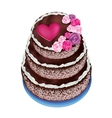 Celebratory cake decorated roses and heart vector image