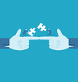 Hands and puzzle Business concept vector image