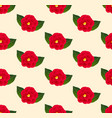 red camellia flower seamless on beige ivory vector image