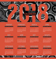 2018 modern red and black graphic calendar vector image