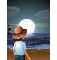 A backview of a man in the beach vector image vector image