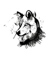 Abstract grunge wolf head vector image vector image