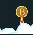 bitcoin flying above clouds vector image